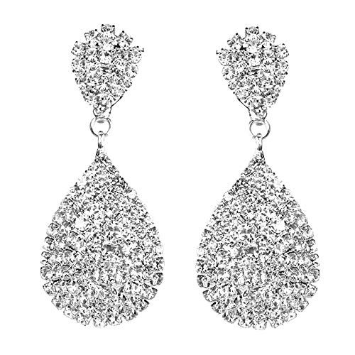 Rhinestone Crystals Gold or Silver Teardrop Dangle Earrings Statement Chandelier Long Drop Earrings for Women Wedding Bridal Prom Debut Party Clip On Earrings and Pierced Earrings (Silver ()