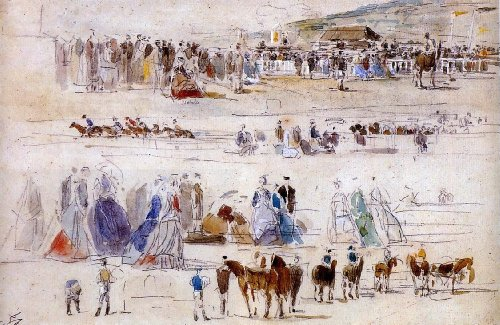 Eugene-Louis Boudin The Racetrack at Deauville - 18.1
