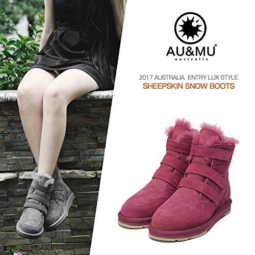 Calf Boots Red Boots Winter AU Mid amp;MU Womens Snow 1 Aumu Short 7wvvnHIYA