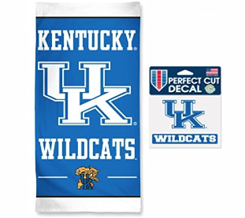 NCAA Kentucky Wildcats 30 x 60 inch Towel and 4 x 5 inch Perfect Cut Decal SET