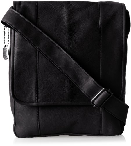 David King & Co. Vertical Mans Bag, Black, One Size David King Leather Bag