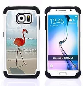 - flamingo summer Miami sun sea beach/ H??brido 3in1 Deluxe Impreso duro Soft Alto Impacto caja de la armadura Defender - SHIMIN CAO - For Samsung Galaxy S6 G9200
