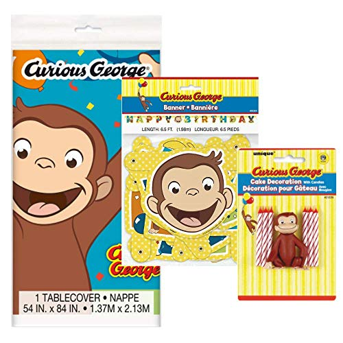 Curious George Birthday Party Supplies and Decorations for Kids Bday (Tablecover, Candles and Topper, and Birthday Banner) -