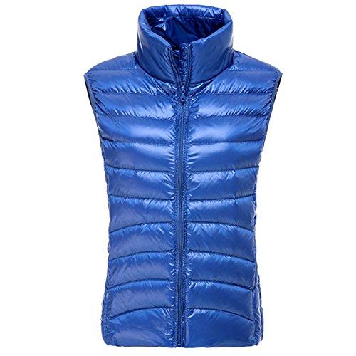leger en collier super ciel chaud compactible Bleu Femme hiver sans stand gilet doudoune OCHENTA garde manches wqT4a4