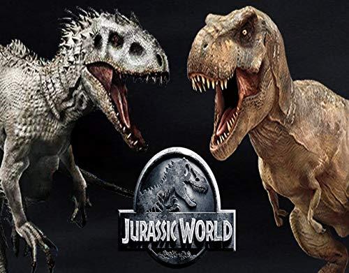 (Jurassic World Logo Indominus Rex VS Tyrannosaurus Rex Edible Cake Topper Image ABPID00290 - 1/4 sheet)