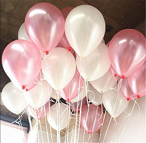 Derker 10 Pink and White Bright Latex Balloons (100 pcs) (White+Pink)