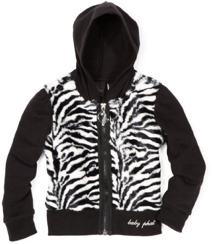 Baby Phat Big Girls' Zebra Faux Fur Hoodie Sweater