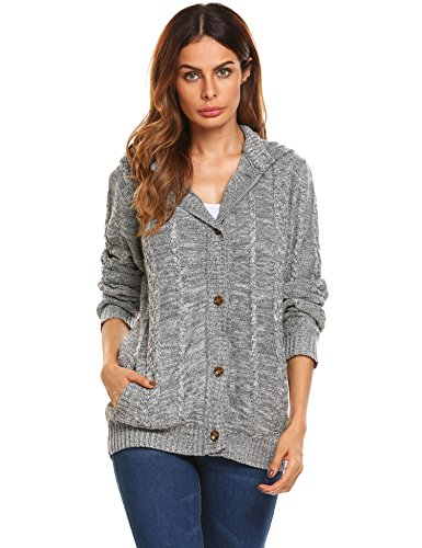 GEESENSS Women's Long Sleeve Pocket Cable Knit Hooded Button Down Sweaters Jacket Coats Gray S (Cable Sweater Hooded Knit)