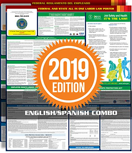(Compliance Assistance 2019 California State and Federal All-in-one Labor Law Poster - Laminated (English/Spanish Combo - Two Posters))