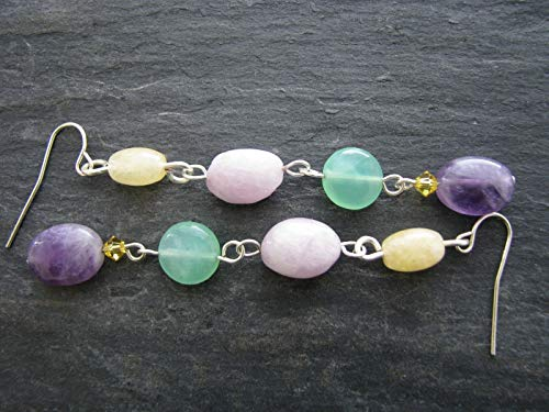 Green Jade Purple Amethyst Earrings Long Drop Beaded Dangle Yellow Multi Gemstone Handmade Bead Jewelry