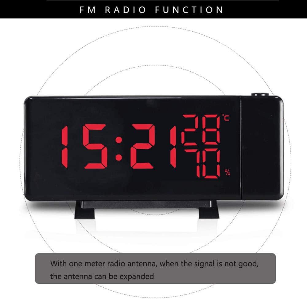 FM Orologio con Doppi Allarmi Radiosveglia con Proiettore Dimmerabile USB Porta di Ricarica LED Orologio a Proiezione Funzione Snooze,12//24h Sveglia Digitale da Comodino Doppi Allarmi