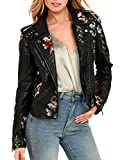 Glamaker Women's Long Sleeves Faux Leather Zipper Jacket Coat Embroidery Floral Pu Leather Outwear (XXL, Black)