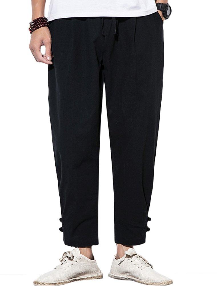 Lavnis Men's Casual Linen Pants Long Elastic Waist Drawstring Trousers