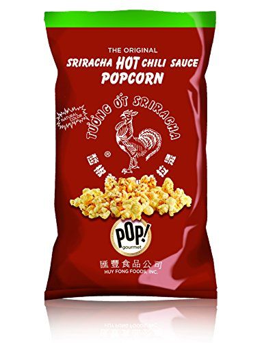 Sriracha Popcorn by Pop! Gourmet | Original Huy Fong Sriracha Seasoned Popcorn | Spicy Flavored, Gluten Free, Air Popped, Natural Snacks for the Smart Snacker | 4.5oz (Single Bag)