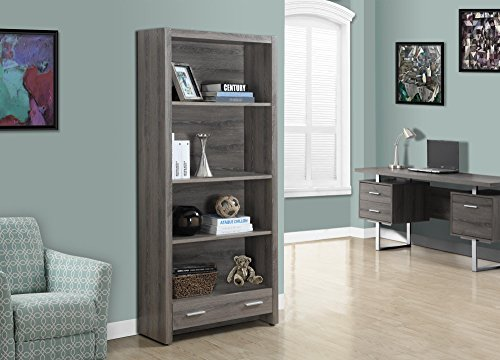 Monarch Specialties Dark Taupe Reclaimed-Look Bookcase with a Drawer, 71-Inch