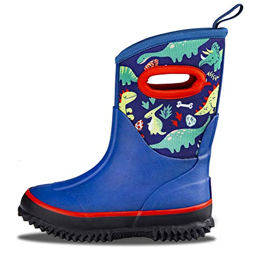 LONECONE Kids' All-Weather Neoprene MudBoots - Boots for Rain, Muck, Snow - Puddle-a-Saurus Dinosaur, Little Kid 11 (Best Shoes For Snow And Rain)