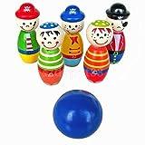MIJORA-Children Wooden Bowling Set Indoor Outdoor Skittles Game Preschool Kids Toy