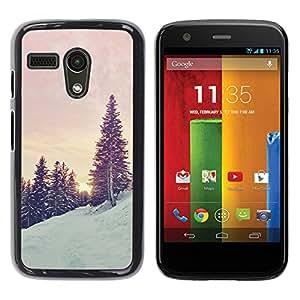 iKiki Tech / Estuche rígido - Trees Snow Mountain Sunrise Sunset - Motorola Moto G 1 1ST Gen I X1032