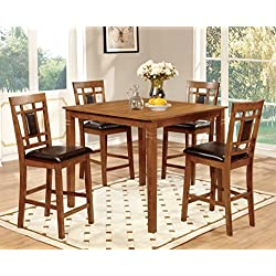 Furniture of America Lazio 5-Piece Transitional Pub Dining Set, Light Oak