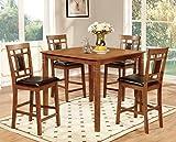 Cheap Furniture of America Lazio 5-Piece Transitional Pub Dining Set, Light Oak