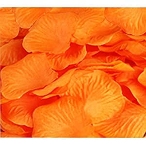 CO RODE Wedding Decoration Silk Rose Petals Pack of 2000 Orange 60