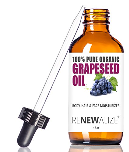 ORGANIC GRAPESEED OIL ANTI-AGING MOISTURIZER - Facial Cleanser in 4 oz Glass Bottle | Unrefined , Cold Pressed | Essential to Reduce Skin Wrinkles and Stretch Marks | Dandruff Remover Hair Treatment
