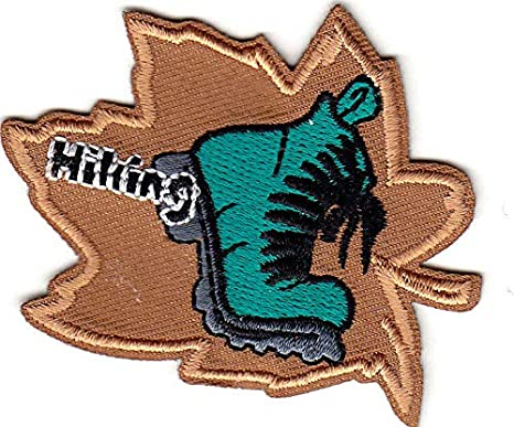 """/""""HIKING/"""" Iron On Patch Scouts Girl Boy Cub  Hiker Sports Outdoors"""
