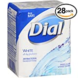 (PACK OF 28 BARS) Dial WHITE Antibacterial Bar Soap. Round the Clock Odor Protection. Leaves Skin Smooth & Radian! Hypo-Allergenic. Great for Hands, Face & Body! (28 Bars, 4oz Each Bar) Review