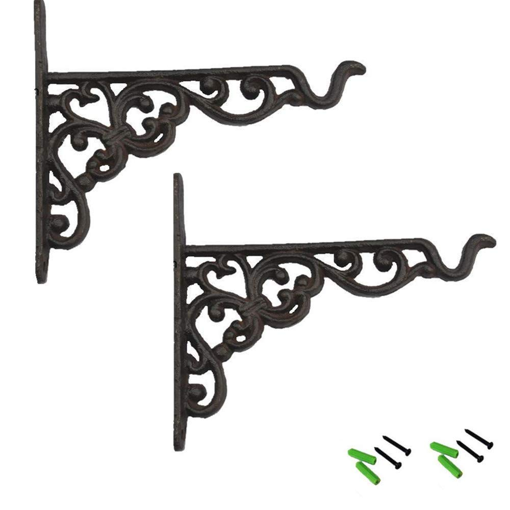 UUsave Pack of 2 Iron Wall Hooks Mount Plant Hangers Metal Wall Hanging Brackets for Planter Bird Feeder Lanterns Wind Chimes Outdoor Decoration Hooks with Screws