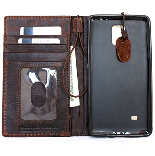 Genuine Leather Case Fit Samsung Galaxy Note 3 Book Wallet Handmade cover slim brown thin Free Shipping daviscase by SHOP-LEATHER (Image #3)