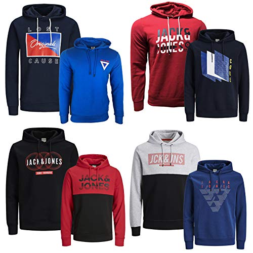 JACK & JONES Kapuzenpullover 2er Pack Hoodie Sweat Shirt Herren Baumwollmix S M L XL XXL (XL, 2er Paket @ 15)