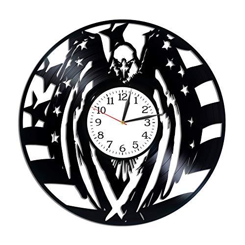 Kovides Bald Eagle Room Art Lp Vinyl Retro Record Wall Clock Vintage Bird Gift Symbol of USA Art Birthday Gift for Him Bald Eagle Clock Animal Art Xmas Gift Idea