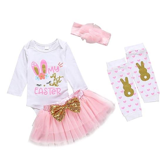 Xifamniy Baby Girls My 1st Valentines Day Outfit Newborn 4Pcs Bodysuit Headband Legging Socks Set