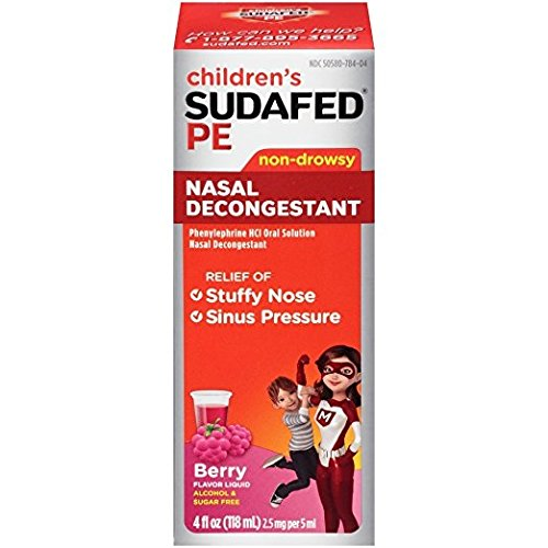 Children's Sudafed PE Non-Drowsy Nasal Decongestant Berry Flavor *(Does Not Contain Pseudophedrine)*, 4oz. Per Bottle (6 Pack) - Non Drowsy Decongestants