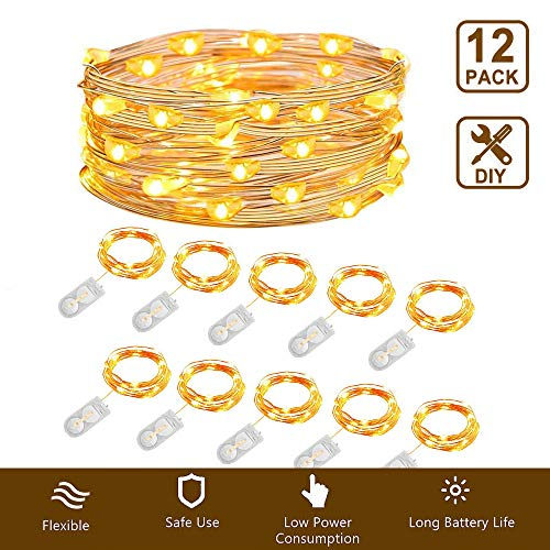 12 Pack Fairy String Lights, 7ft 20 LEDs Battery Operated Starry String Lights Waterproof Copper Wire Lights Firefly Moon Lights DIY Wedding Christmas Decorations Gifts, Warm White