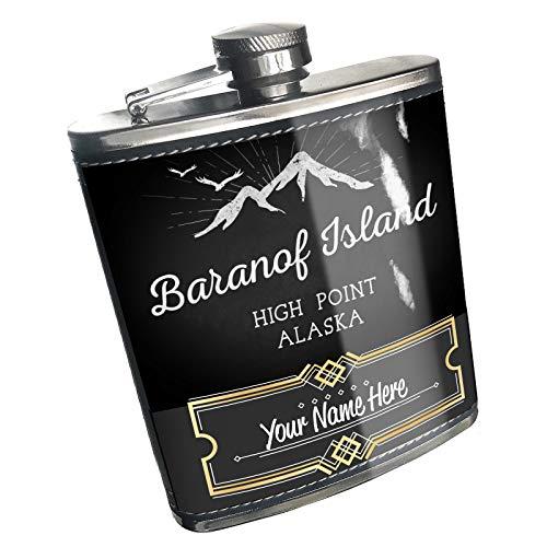 (Neonblond Flask Mountains chalkboard Baranof Island High Point - Alaska Custom Name Stainless Steel)