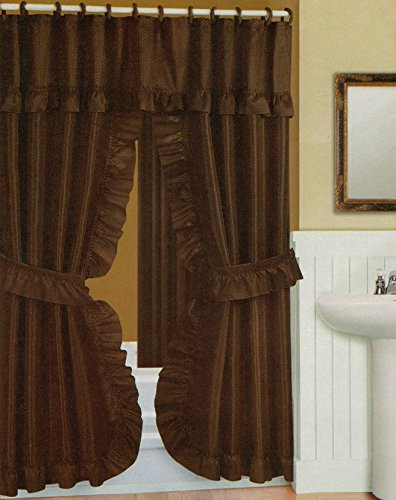 Double Swag Shower Curtain, Liner & Rings, Chocolate Brown, 70x72 - Curtain Shower Sterling