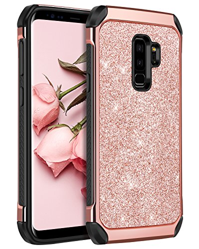Galaxy S9 Plus Case, BENTOBEN Luxury Bling Glitter Slim 2 in 1 Soft TPU Bumper Hybrid Hard PC Cover Coat Sparkly Shiny PU Faux Leather Shockproof Protective Phone Case for Samsung S9 Plus, Rose Gold