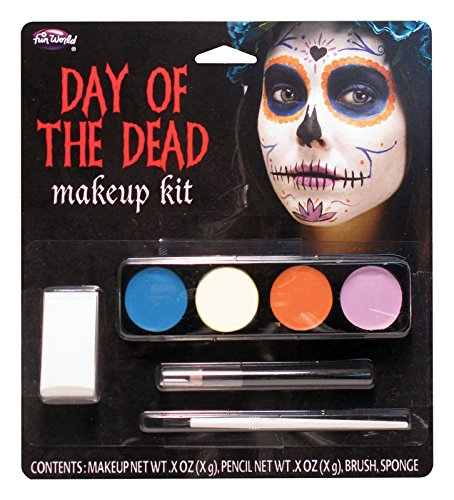 Fun World Day of the Dead Ghost Girl Sugar Skull Makeup Kit (Mexican Halloween Face Paint)
