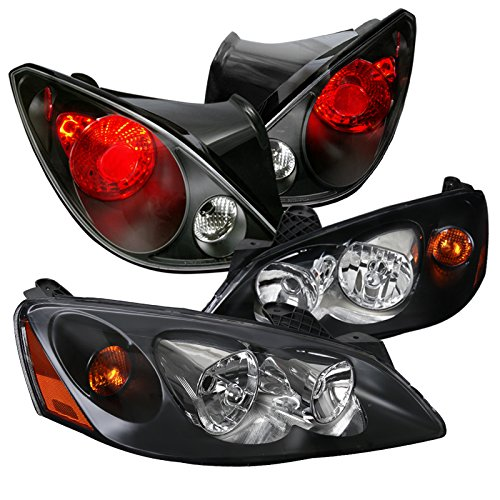 Pontiac G6 2Dr Replacement Black Headlights+Black Brake Tail Lamps (2dr Left Tail Lamp)