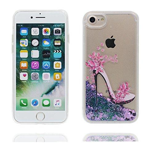 Coque iPhone 7, Case Cover étui pour iPhone 7 4.7 pouces, Bling Glitter Fluide Liquide Sparkles Sables Mouvants Étoile Paillettes Flowing Brillante Étui, iPhone 7 Case, talon hauts anti-chocs