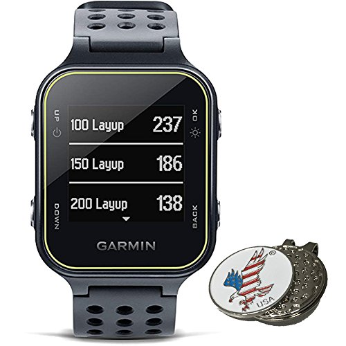 50 Ball Marker Display - Garmin Bundle Approach S20 Golf GPS Watch, Slate + 1 Custom Ball Marker Clip Set (American Eagle)