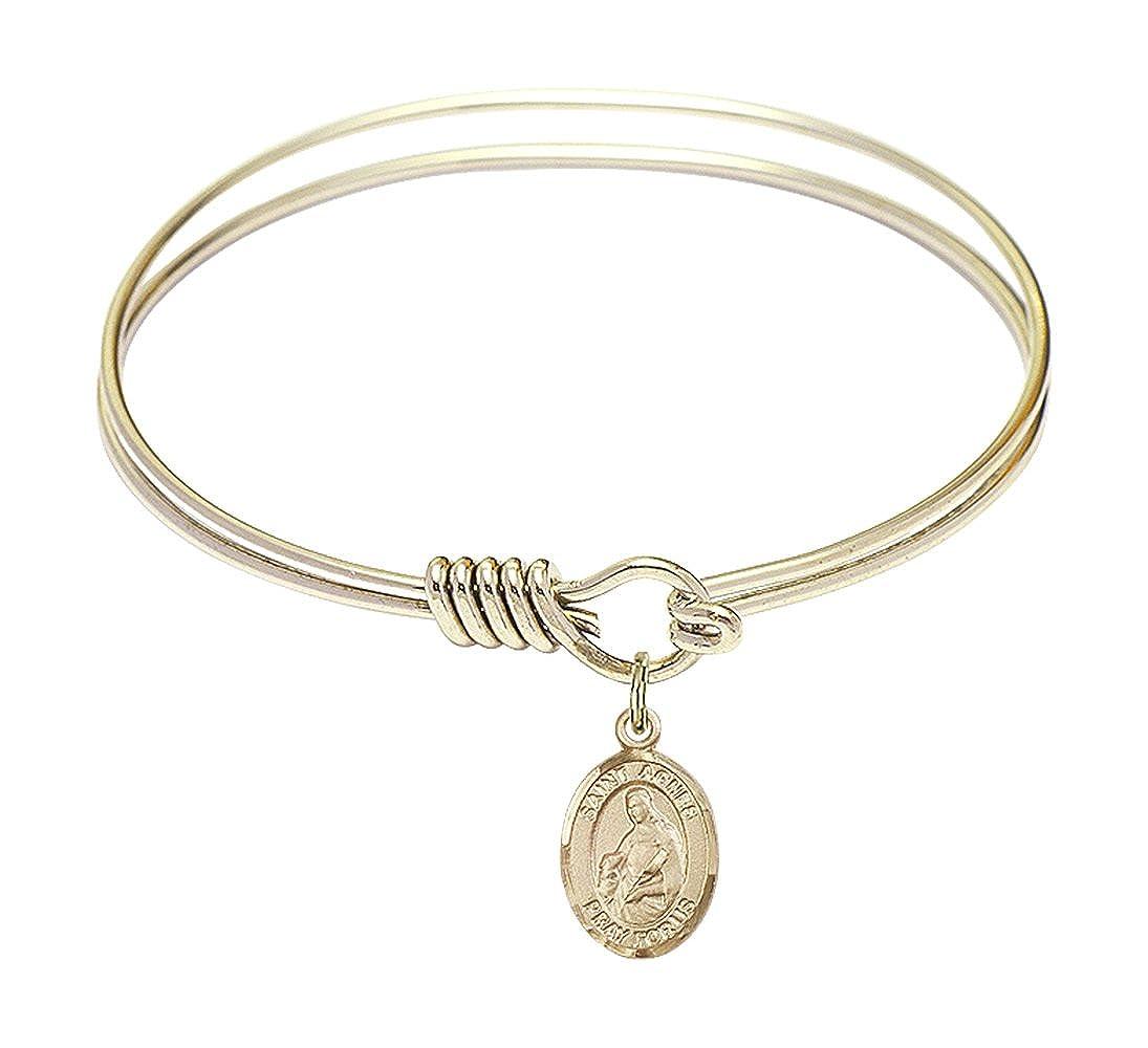 DiamondJewelryNY Eye Hook Bangle Bracelet with a St Agnes of Rome Charm.