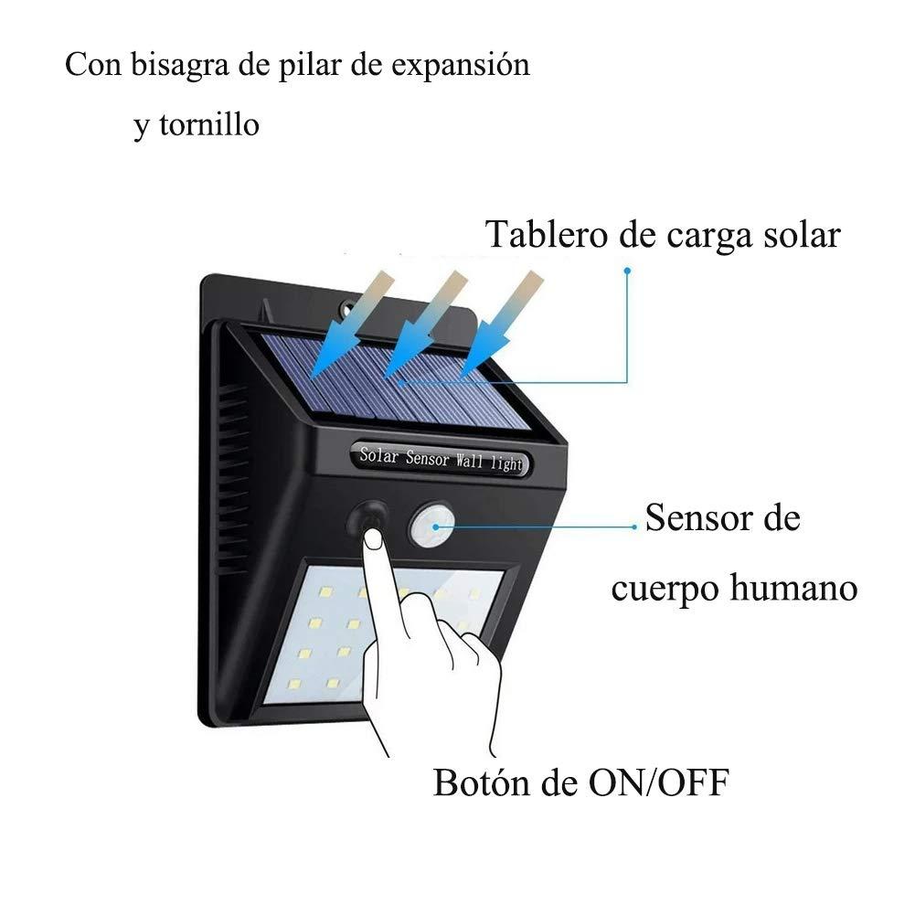 Luz de solar 20 LED, Lámparas Solares Luces de Exterior con Sensor de movimiento de Seguridad Inalámbricas y con Batería Solar Exterior para Jardín Patio ...