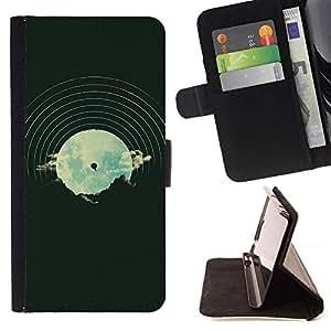 Momo Phone Case / Flip Funda de Cuero Case Cover - Dj Música Disco Vinilo Vignette Hipster - Samsung Galaxy A5 ( A5000 ) 2014 Version
