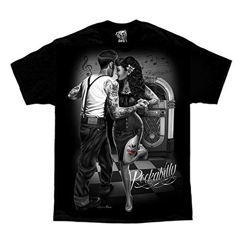 Punk Art T-shirt - Rockabilly Jukebox Greaser Punk Tattoo David Gonzales DGA Art Men's T Shirt XX-Large Black