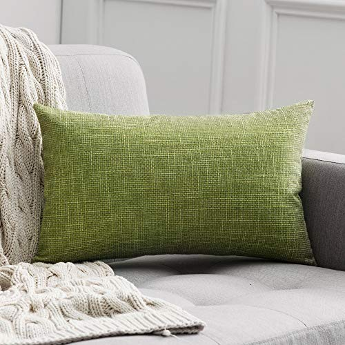 MIULEE Decorative Lumbar Throw Pillow Covers Farmhouse Style Linen Cushion Cases Vintage Decor Green Pillow Cases for Couch Sofa Bedroom Car 12 x 20 Inch 30 x 50 cm (Green Pillow Lumbar)