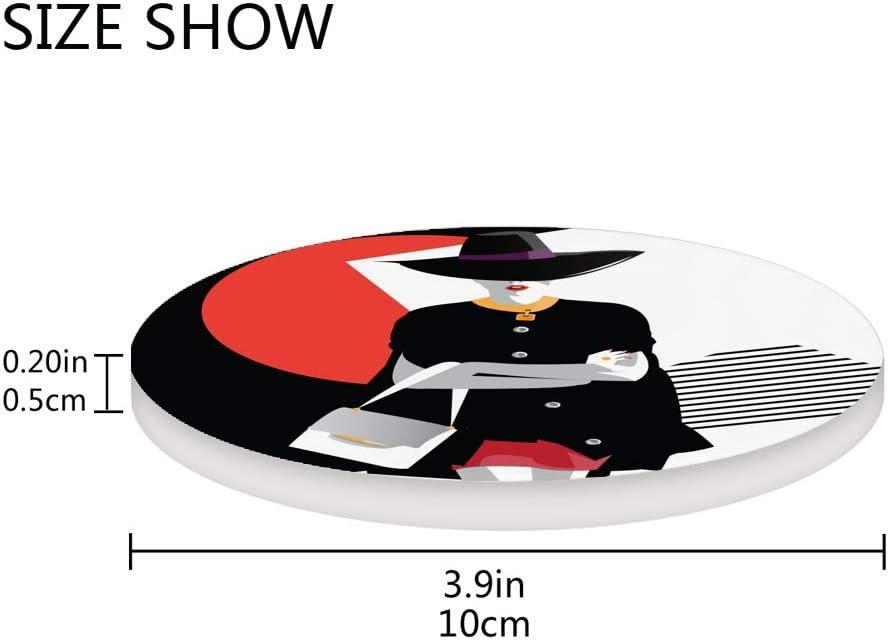 C/éramique 1 piece li/ège le bureau de 3,9 cm Cheshongg Dessous de verre tendance pour adolescente et fille style pop art absorbant en c/éramique rond Tapis de tasse pour la maison 1 la cuisine