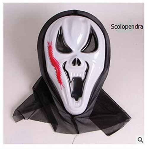 Happyi Halloween Costume Ball Costume Party Mask Horror of the Zombie Mask Creepy Scary Halloween Toothy Zombie Ghost Mask Scary(Scolopendra) -