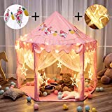"Twinkle Star 55""x 53"" Princess Castle Play Tent for Girls Playhouse with 138 LED Star String Lights and Banners Decor, Kids Game House for Indoor Outdoor Game(Pink)"
